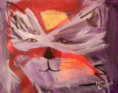 Cat Original Acrylic Painting by Alex Colvin by TheLaceGallery