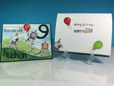 Birthday card for grandson using the Skater Kids stamp set by Mama Elephant