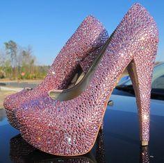 Steve Madden Indian Pink GENUINE Swarovski crystals encrusted diamond platform pumps- $1400