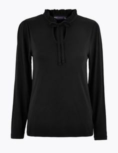 Tie Neck Long Sleeve Top | M&S Collection | M&S