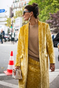 paris fashion week street style spring 2018 giovanna battagila engelbert yellow velvet coat skirt tan sweater polka dot bag