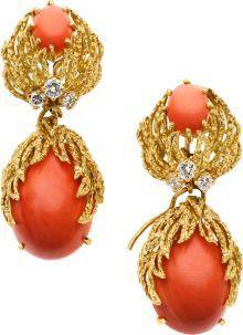 Estate Jewelry:Earrings, Coral, Diamond, Gold Earrings