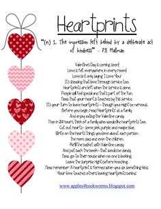 Great FHE activity to start Feb. 1st: Spreading Heartprints!