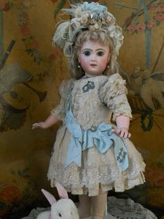 ~~~ Beautiful Ivory Silk and Lace Dress with Pretty Bonnet ~~~ from whendreamscometrue on Ruby Lane