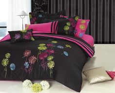 Seasons Collection Midnight Meadow Duvet Cover Set In Black Multicolor - Beyond the Rack Pink Home Decor, Twin Bed Sets, Home, Tropical Bedroom Decor, Bed, Luxury Bedding, Pinterest Home, Luxury Duvet Covers, Dream Rooms