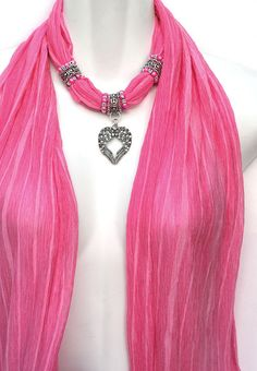 Beaded Scarf With Charms Pendant Scarves Pink  Scarf Necklace. $24.00, via Etsy.