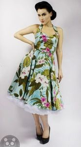 Image of Hawaiian Print Pale Turquoise & Pink Dress