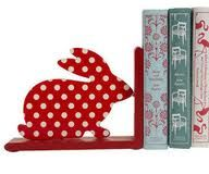Polka dot bunny book end