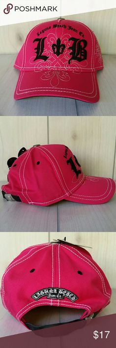 Laguna Beach Hat Hot Pink Fleur-de-lis Adjustable Hot pink with black embroidered Laguna Beach Jean co. Logo. Adjustable strap in back. Laguna Beach Jean Co. Accessories Hats