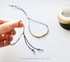 Blue / Thread Bracelet / Gold Bead Bracelet / Blue by crownandleaf