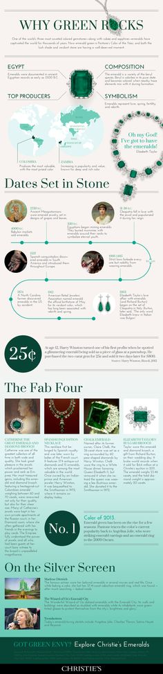 Cool infographic from Christie's on emeralds http://thumbnails.visually.netdna-cdn.com/why-green-rocks_515ee8829a6ea.png