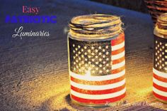 Easy patriotic luminaries made from repurposed pickle jars, inexpensive small flags removed from their wooden sticks, roll on adhesive tape and Mod Podge. Just add tea lights to complete the luminaries.