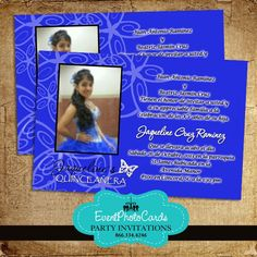 Royal Blue Damask Pearl Bow Quinceanera Invite Pinterest Damasks