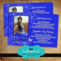Quinceanera Invitations Zebra Royal Blue Doll Ticket Quinceanera