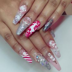 Christmas nail art featuring candy cane stripes red green and silver glitter a reindeer Snowflakes and crystals by Nailsbymztina Holiday Nail Designs, Holiday Nail Art, Christmas Nail Art, Cool Nail Designs, Christmas Ideas, White Nails, Red Nails, Glitter Nails, Silver Glitter