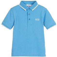 c3084d4a BOSS Boys Pale Blue Cotton Piqué Polo Shirt Orange Polo Shirt, Pique Polo  Shirt,