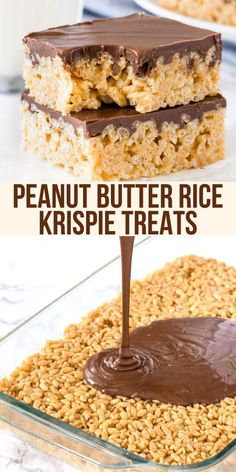 Easy peasy - these Peanut Butter Rice Krispie Treats have a chewy texture and chocolate on top peanutbutter ricekrispies cereal cerealtreats bars chocolate chocolatepeanutbutter from Just So Tasty Mini Desserts, Easy Desserts, Easy Delicious Desserts, Good Dessert Recipes, Desserts For A Crowd, Rice Krispy Treats Recipe, Recipes With Rice Krispies Cereal, Rice Krispie Treats Variations, Rice Crispy Treats