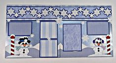 Snow Cuties Double Page Pre-made Scrapbook Layout #scrapbooklayouts