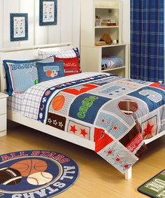 This set is a big win for the sports-themed bedroom. The patterned comforter and sham feature basketball, baseball, football and soccer graphics that will impress the family athlete. Includes comforter and two shamsFull comforter: x clean Full Comforter Sets, Best Bedding Sets, Luxury Bedding Sets, Bed Sets, Boys Bedroom Decor, Bedroom Themes, Master Bedroom, Sports Bedding, Kids Bedroom Organization