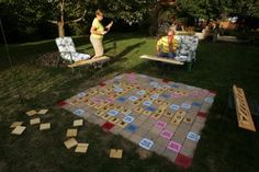 Lawn Scrabble - I think this is too cool. I've seen a magnetic wall Scrabble too. So fun!