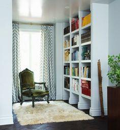 full length window and open bookshelves