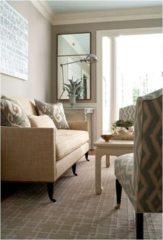We need a beige or cream couch. Nix the green one, though it IS pretty. layered patterns muse interiors