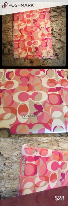 Authentic Coach iPad cover. Very cute and stylish. In GUC. Pink interior/ hard cover. Outside has the coach print  (full of coach C's everywhere) with silver logo on bottom. Purchased at the Coach store-100% autgentic💕 Coach Accessories Tablet Cases