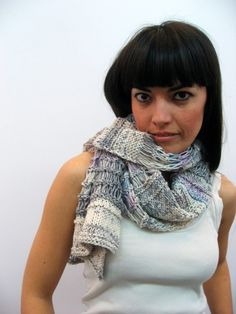 hand-knitted cotton scarf
