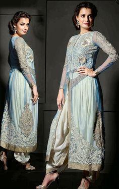 Picture of Awesome Aqua Blue Color Designer Salwar Kameez