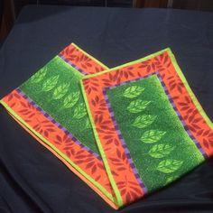 Department 56 Table Runner Tropical Leaf Floral Orange Green Purple Linens #Department56
