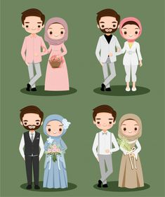 Cute Muslim Couple Wearing Hijab Cartoon Character For Wedding - therezepte sites Bride And Groom Cartoon, Wedding Couple Cartoon, Cute Couple Cartoon, Cute Cartoon, Wedding Illustration, Cute Illustration, Character Illustration, Retro Wedding Invitations, Vintage Wedding Stationery