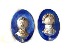 Ceramic plates  Jie verkstatd  Wall decor Sweden oval tiles man and woman set Plaque Design by Master Aimo Wall hanging