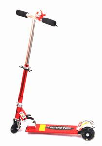 Buy Grabby Three Wheel Metal Folding Skate Scooter with LED Lights and Bell - G0850SS (Red)