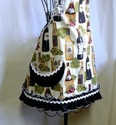 Womens Full Apron Wine Bottle with Sparkle Ruffle by MontanaTwirls, $40.00