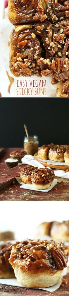 "AMAZING Vegan Sticky Buns by the Minimalist Baker! Sound absolutely delicious!!! Description..."" Easy, 9 ingredients, 1 rise and SO ridiculously sticky delicious""!!!!"