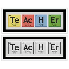 TEACHER Chemical Element Cross Stitch Chart by HollysHobbiesUK, £2.49 [Very cute for teacher friends!]