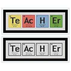 TEACHER Chemical Element Cross Stitch Chart by HollysHobbiesUK, £2.49 [Very cute for teacher friends!]