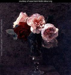 Still life of Pink and Red Roses by Fantin-Latour