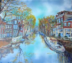 Herfst in Amsterdam - acrylverf op doek - Elena Polyakova (1970- )