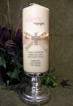 Personalized Baptism or First Communion Candle with by JCembossing