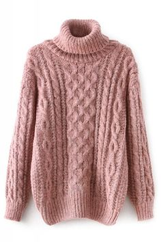 Cable Knit Turtle Neck Long Sleeve Pullover Sweater