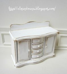Miniature furniture dollhouse. this cabinet for the bathroom