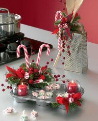 Christmas Decor- I like the idea for the Cupcake Pan!! These would make awesome decorations for the kitchen.