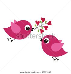 birds with love - stock vector