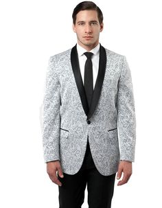 This modern fit dinner jacket features a beautiful paisley print material. A satin shawl lapel, and a one button closure and side vents. It's a guaranteed hit for any party of event. #BlackJacket #SilverJacket #WeddingJacket #PromTux #WeddingTux #Tux #Wedding #Prom #DinnerJacket #Jacket Wedding Tux, Wedding Jacket, Mens Dinner Jacket, Prom Tux, Paisley Print, Shawl, Suit Jacket, Satin, Closure