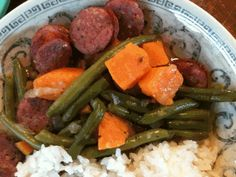 Smoked Sausage Skillet - Eat at Home This was sooo good. Didn't add green beans or serve over rice AND had to use beef broth instead of chicken but I did everything else recipe called for and it was banging! :)