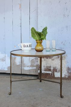 Glamorous brass and marble topped coffee table.