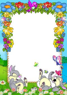 Cute blue kids png photo frame with flowers and bunnies craft-art. Frame Border Design, Boarder Designs, Page Borders Design, Happy Birthday Frame, Birthday Frames, Disney Frames, Boarders And Frames, School Frame, Borders For Paper