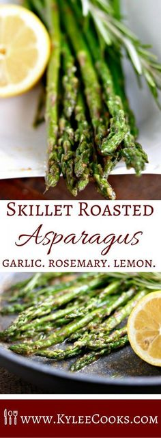 Make the most of fresh spring vegetables and flavors with this super easy Skillet Roasted Asparagus. A quick sauté, then finished in the oven – this yummy side goes perfect with everything! via Kylee Cooks vegetable recipes Side Dish Recipes, Vegetable Recipes, Vegetarian Recipes, Dinner Recipes, Healthy Recipes, Delicious Recipes, Delicious Appetizers, Scd Recipes, Veggie Meals