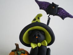 Black Halloween Cat with Pumpkin and Bat with by HelensClayArt, $14.95